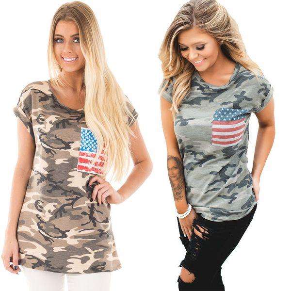 2019 yeni pamuk kadın giyim Amerikan bayrağı desen rahat moda T-shirt toptan