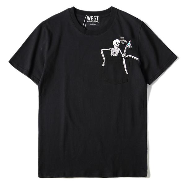 La maglietta del cranio del progettista degli uomini di modo ha lasciato lasciare chill fuori l'abbigliamento degli uomini di usura della via occidentale kanye ad ovest di freddo