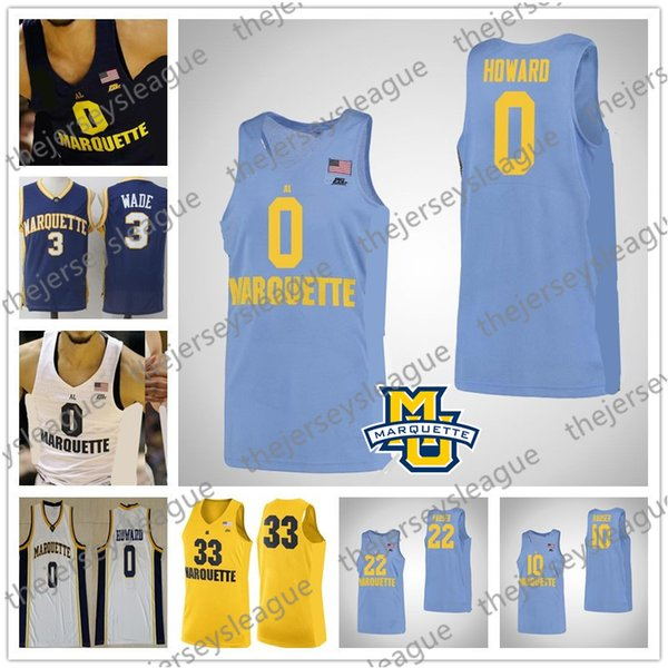 Marquette Golden Eagles Custom Any Name Number Stitched Navy Blue White Yellow NCAA College Basketball Jerseys #0 Markus Howard
