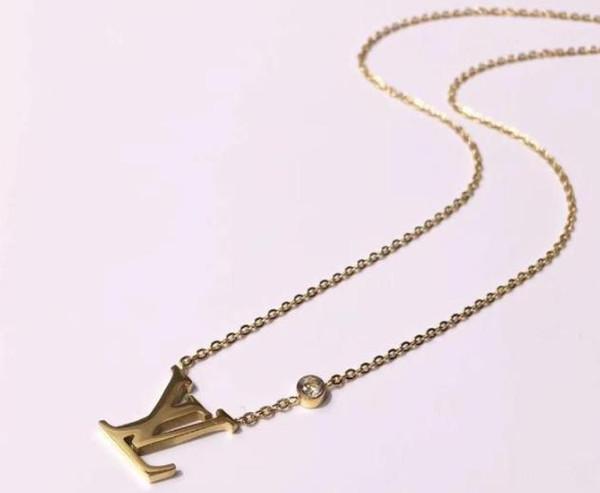 Lüks Marka Gerdanlık Kolye Takı 316L Titanyum Çelik 18 K Rose Gold Kaplama Kolye Gümüş Kolye Kolye Kadınlar Hediye Için
