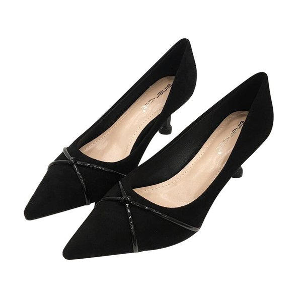 7d09bf6ab2c30 6CM Mid Heel with Thin Classic Sexy Pointed Toe Kitten Heels Women Pumps  Shoes Faux Suede