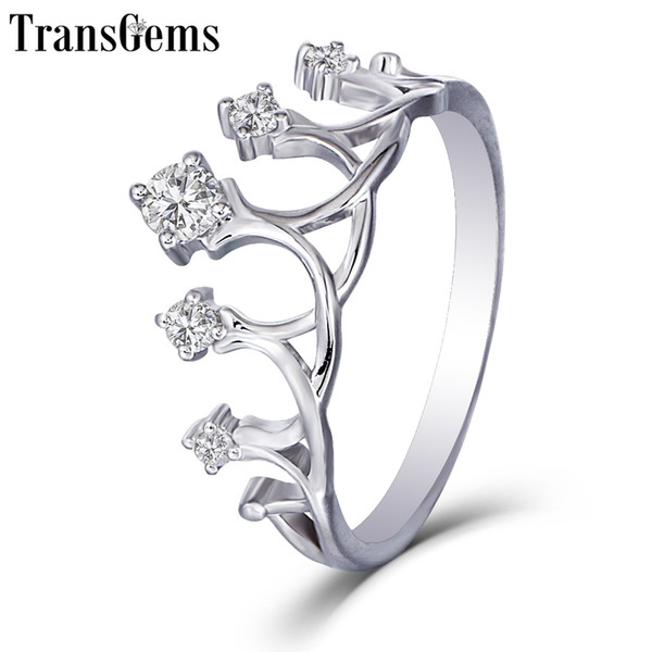 Transgems Solid 14k 585 White Gold Ladies Ring F Color Moissanite Crown Shaped Ring For Women Stackable Wedding Band
