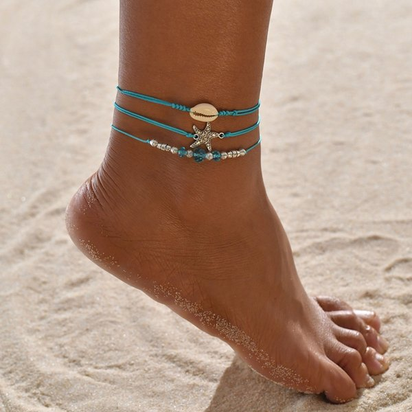 Anklet Originality Posimi Second Starfish Shell Blue Pearl Anklet Suit Three-piece pearl earrings, piercing,Pandora charms,summer sundress women,shell jewelry,abalone shell jewelry,sea shell jewelry,shell jewelry set,shell jewelry diy,cowrie shell jewelry,conch shell jewelry,women shell jewelry sets