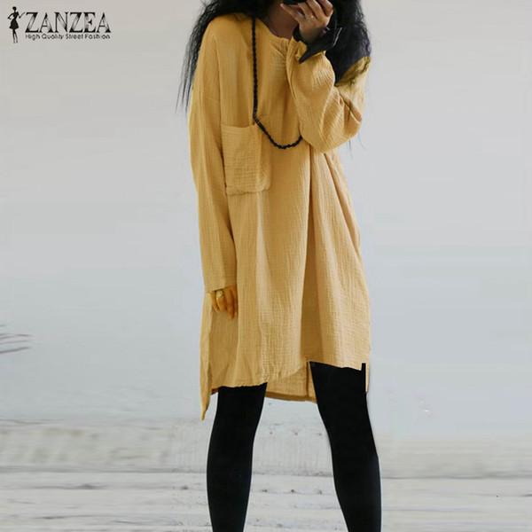 ZANZEA 2019 Vintage Femmes Lin Blouse Femme Casual Chemises À Manches Longues Sexy Mini Robe Asymétrique Ourlet Blusas Plus La Taille 5XL SH19010