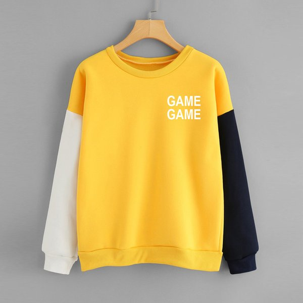 2018 Winter Fashion new women gamegame alphabet printed stitching color block long-sleeved letter O collar jumper Bottom Shirt