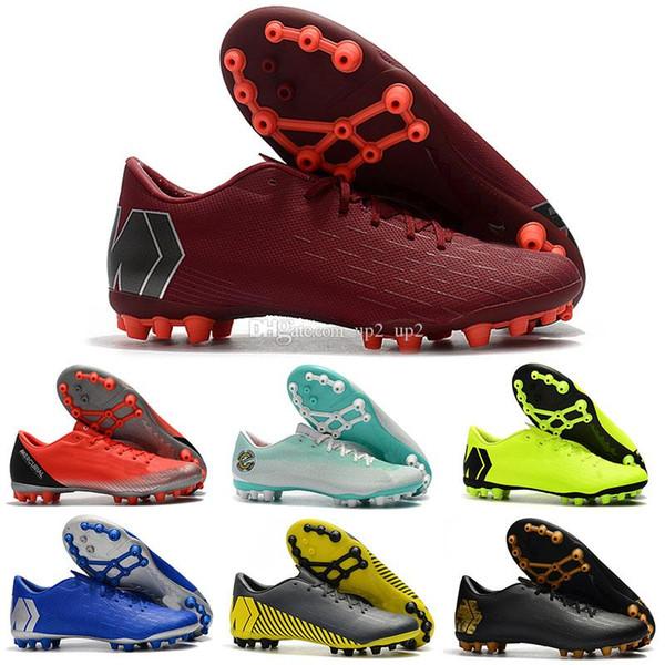 2019 Yeni erkek Açık futbol ayakkabıları Mercurial Superfly 12 Akademi CR7 AG-R açık chaussures de futbol çizmeler boyutu 39-45 ucuz