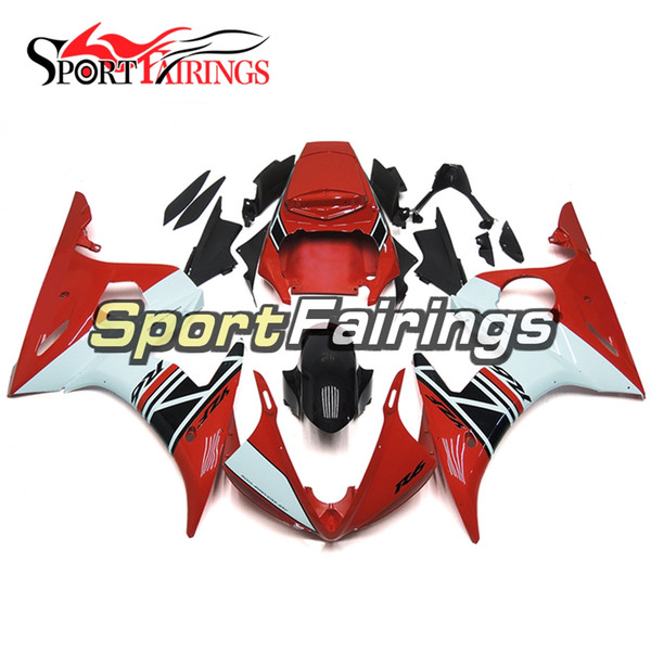 Full Sportbike Body Work Cowling For Yamaha YZF-600 R6 Year 2003 2004 Complete Plastic Fairings 2003 2004 White Red Bodywork Kit