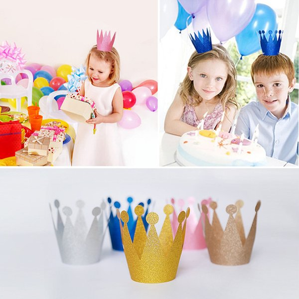 6pcs Birthday Hat Party Cap Hairband Princess Queen Crown For Kid Birthday Party Decorations Baby Shower Props