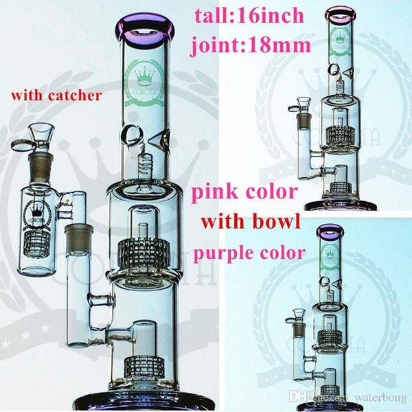 Стекло Бонг Percolator водопроводная труба 16