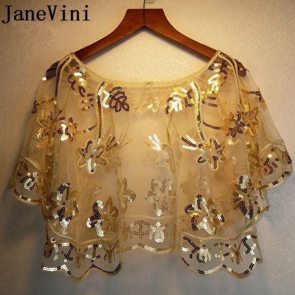 wholesale Bling Sequins Women Bolero Wraps Wedding Party Dress Gold Short Cape Shrug Bridal Tulle Black Stoles Bolero