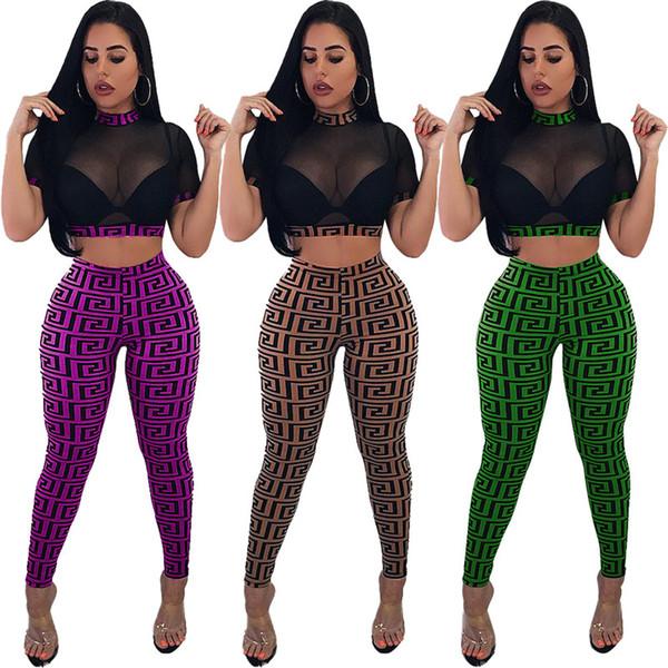 Women Designer tracksuit Gauze Crop Top Leggings Outfits See Through Mesh T-Shirts + Slim Pants 2 Piece Set Club Suit Girls Club Wear C53001