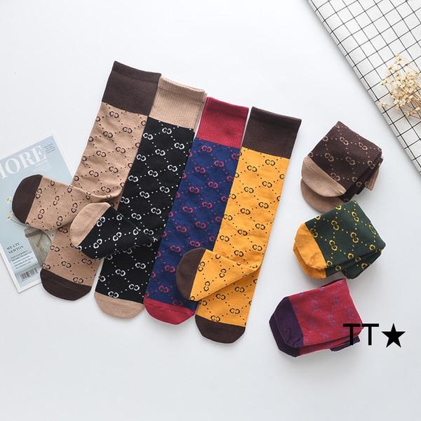 7 colori per bambini adulto Calze sportive genitore-bambino lungo cotone lettere calze di design di lusso ragazzi ragazze stampato jacquard Athletic calzino casual