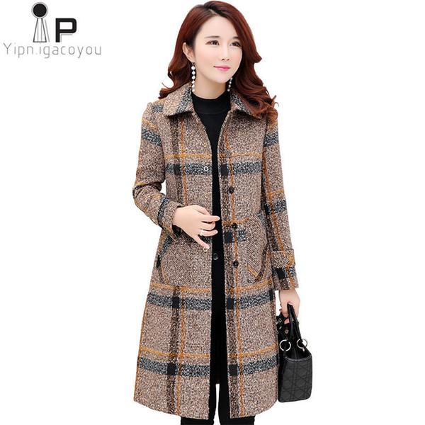 Мода плед длинные полушерстяные пальто женщин 2019 осень зима плюс размер толстые теплые шерстяные пальто повседневная женская куртка пальто 3XL
