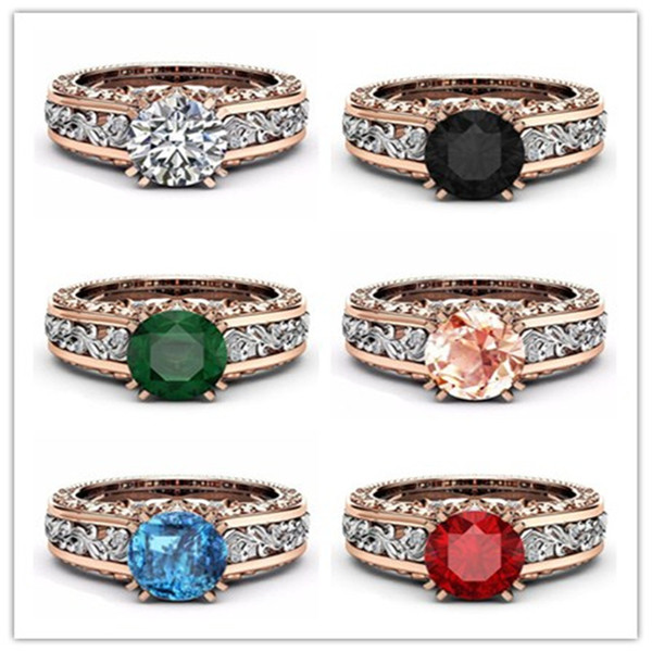 New Two-tone Color White/Pink/ Red/Green/Black/Blue Round Zircon Engagement Ring For Women Hollow Flower Zircon Wedding Ring QY