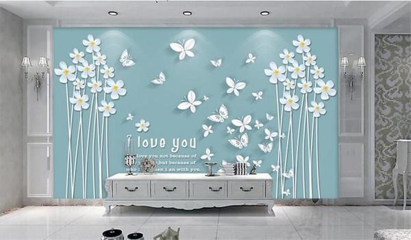 Personnalisé 3D Photo Papier Peint Murale Salon Canapé TV Toile de Fond Murale blanc papillon amour fleur Image Papier Peint Autocollant Mural Décor À La Maison