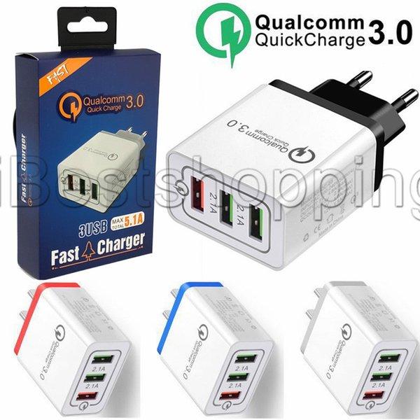 Carga Rápida 3.0 USB cargador de 18W QC3.0 de carga rápida Cargador de pared USB para el iPhone Samsung Xiaomi cargador del teléfono móvil de EE.UU. Verson británica de la UE