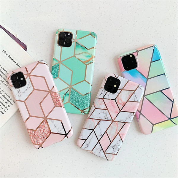 Geometry marble plating oft tpu ca e for iphone 11 pro x max xr x 8 7 6 fa hion luxury hybrid rock granite chromed contra t color cover