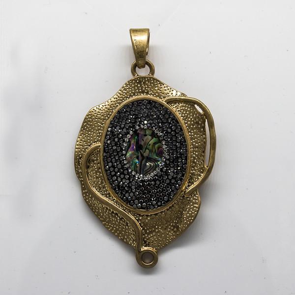 La main strass abalone coquille or métal alliage argile collier ovale connecteurs 2 trous Charms pendentif bricolage perles fabrication de bijoux
