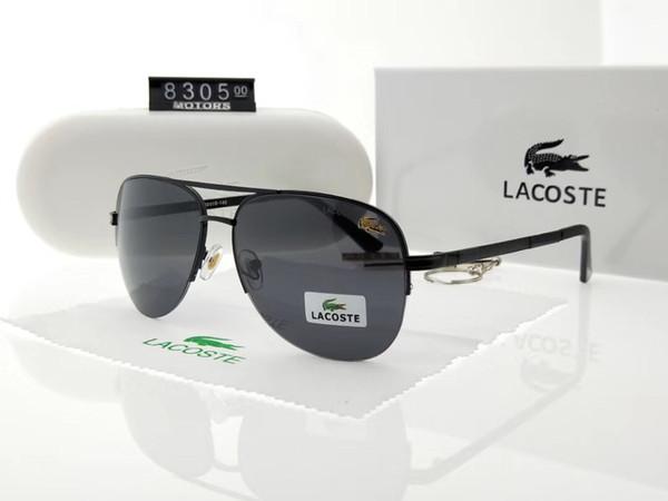 High Quality Glass Lens Brands Sunglasses Men Women Metal Frame Trends Vintage Eyewear Flat 5 Color Mirror UV400 Pilot Cases Box