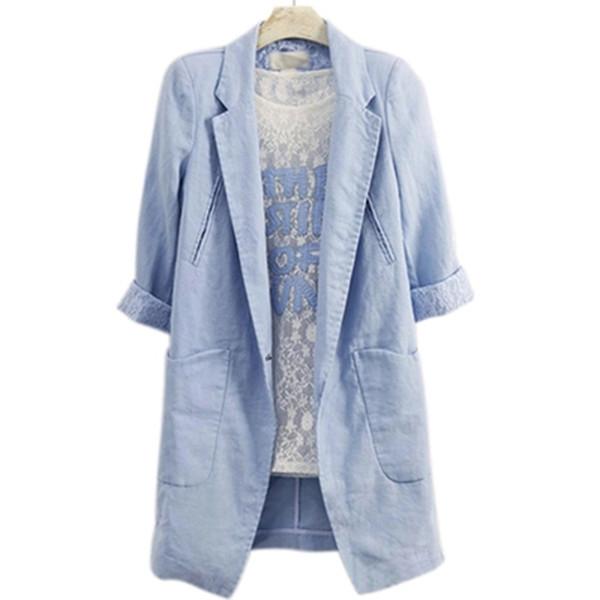 Ladies Summer 2019 Dames Coats Sleeve Plus Jas Casual Mantel 7010 Blazer Damen From Short Femme Size Blazers Louson Pink Long Women rBtsCxdhQ