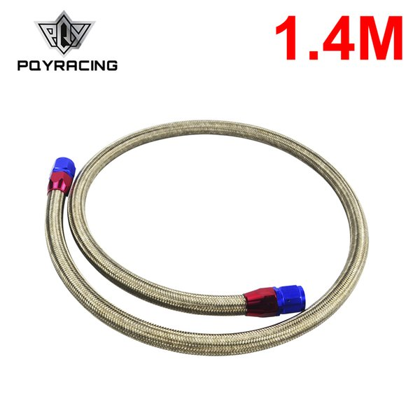 PQY - 1.4METER AN10 STAINLESS STEEL BRAIDED Fuel Oil Line + 2PCS AN10 STRAIGHT AN SWIVEL FITTING PQY3703S