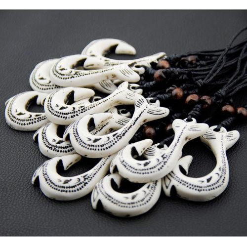 Jewelry Wholesale 12pcs Tribal style Yak Bone carved New Zealand Maori Fish Hook charms Pendants Necklaces GIFTS HB2