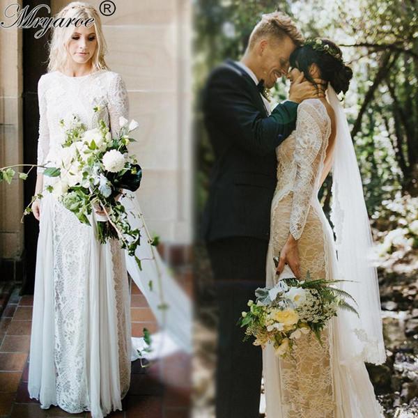 Старинные кружевные платья Boho Свадебные платья 2019 Прозрачная иллюзия с длинными рукавами Аппликации Драгоценная шея Аппликация Шифон Свадебные платья BC0590