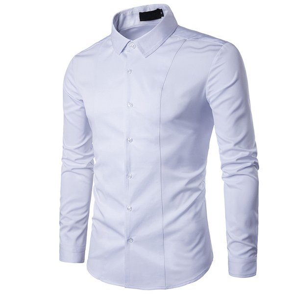 MUQGEW high quality men shirt long sleeve Men's Autumn Casual Fashion Cotton Slim Fit Long Sleeve Dress Shirt Top Blouse#G4