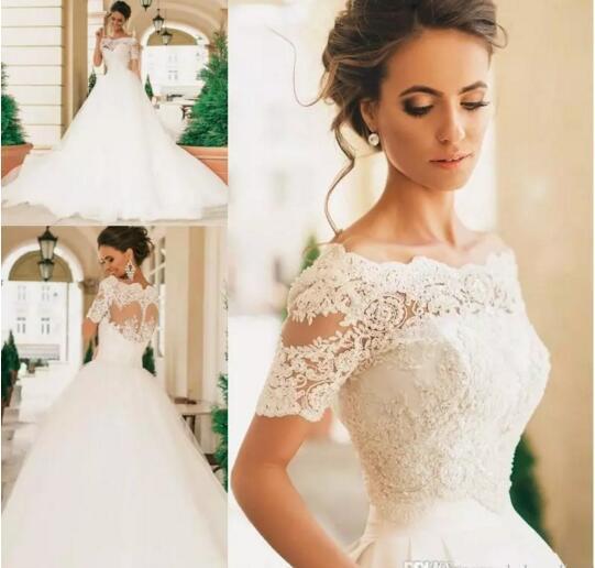 2019 Vintage Robe De Mariage maniche corte abiti da sposa in pizzo Appliqued perle Sheer Bateau collo pizzo abiti da sposa Vestido De Novia