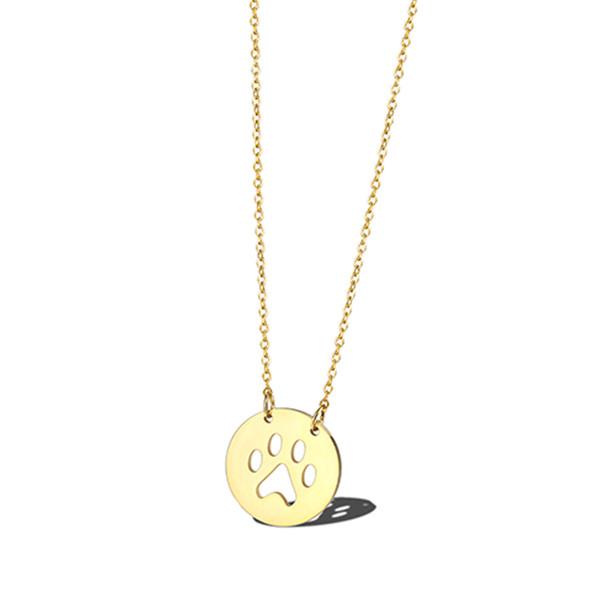 Moneda de oro collar de impresión pequeño perro gato impresión encantos delicada joyería encantos del animal doméstico collares mejor minimalista joyería regalos