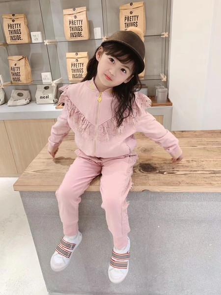 ROSE enfants filles mis printemps automne nouvelle mode enfants manteau à glissière avec pantalon costume de sport vêtements de fille de bébé