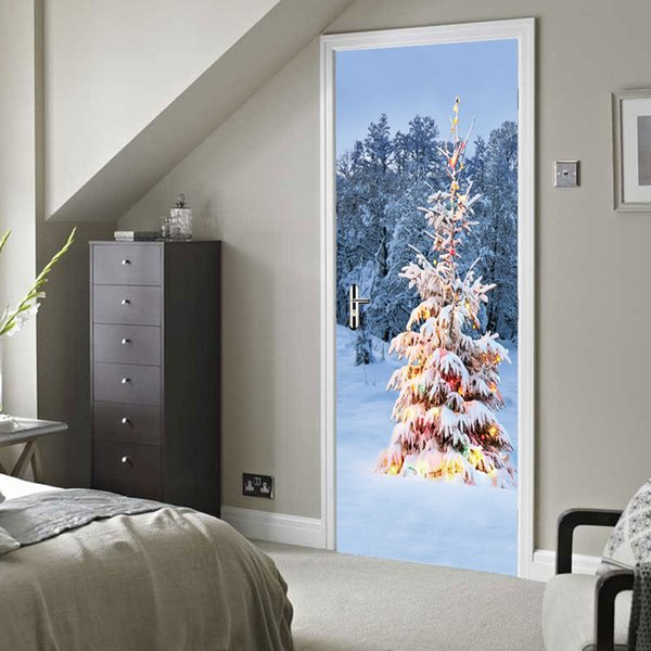 snow Christmas tree door wall Sticker Graphic Unique Mural Cosplay Gifts for living room home decoration Pvc Decal paper WN650