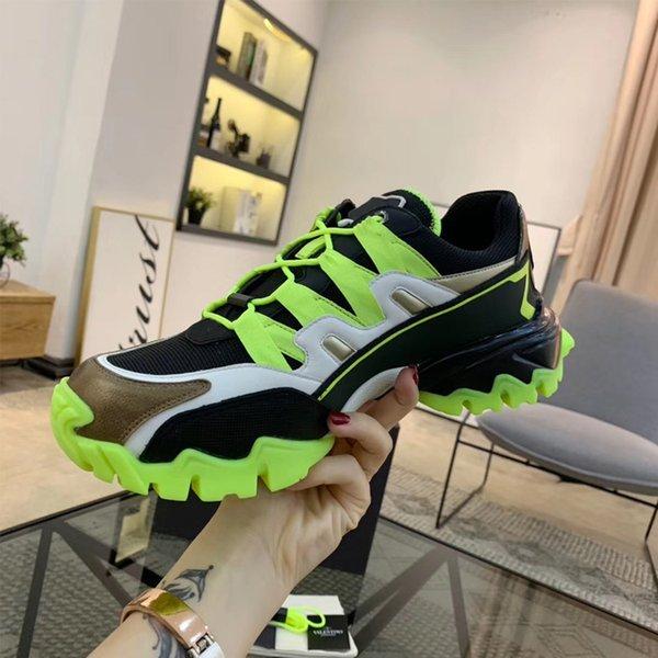 Con la caja de zapatos 2019 nuevos CLIMBERS hombres, mujeres, zapatos, moda, tejido cómodo, costura de piel de becerro con suela de goma, zapatos de diseño, talla 35-44