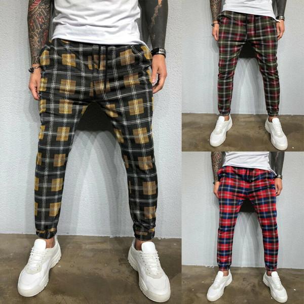 2020 Sexy Haut Wasit Mode Printemps Eté Pocket Slim Fit Men Colorful Plaid Straight Leg Trousers Crayon Jogger Pantalons simple