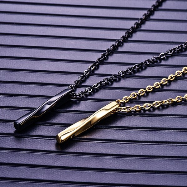 Fashion Men Charm Black Choker Necklace Twisted Column Pendant Necklaces Jewellery Hip Hop Jewelry Stainless Steel Chain For Mens