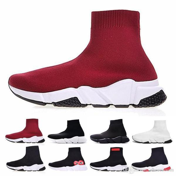 balenciaga Paris scarpe 2018 Taille 36-45 Designer De Luxe Chaussette Chaussure Noir Rouge Paris Slip-on Haut Haut Hommes Femmes Casual Chaussures Plates Sneaker Sport Chaussures