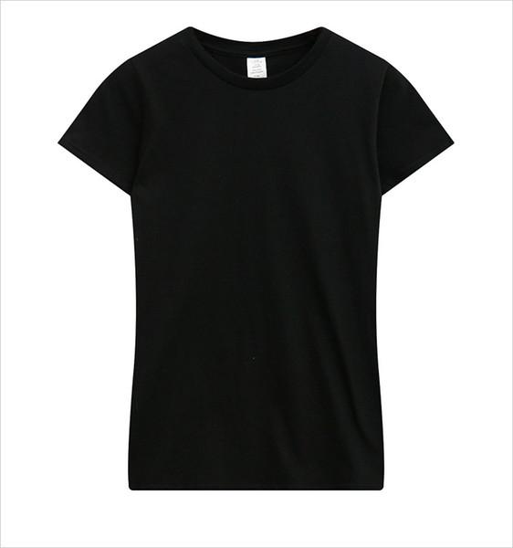 2019 T-shirt casual in cotone tinta unita di nuova tendenza popolare femminile con collo tondo e maniche corte sfoderate
