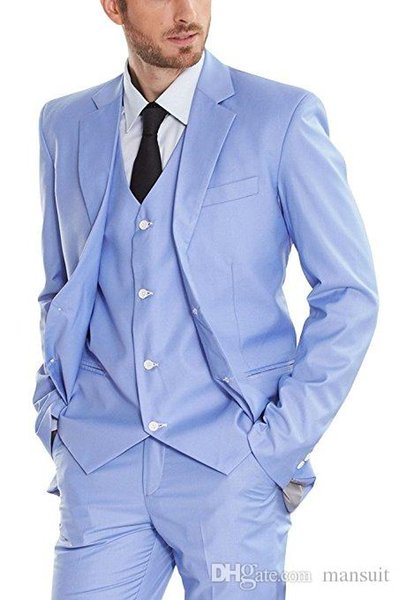 Custom Made Groomsmen Notch Lapel Groom Tuxedos Light Blue Men Suits Wedding/Prom/Dinner Best Man Blazer ( Jacket+Pants+Vest+Tie ) M1075