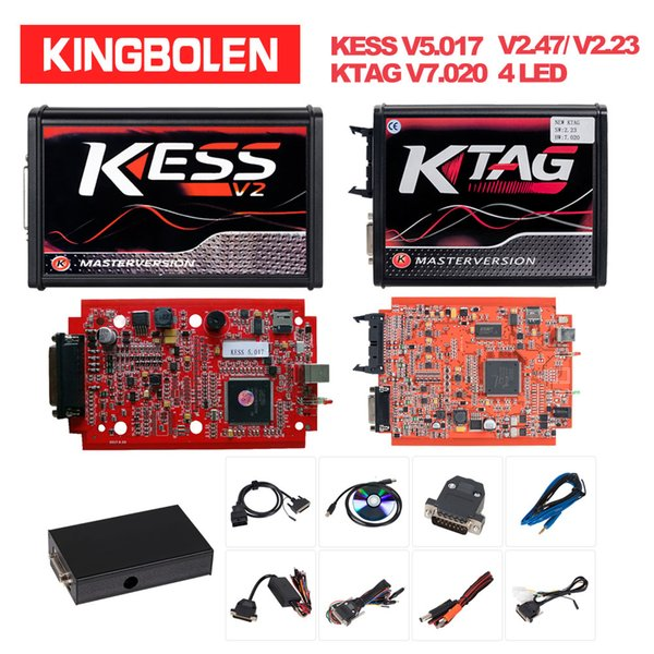 KTAG Ktag V7.020 v2.23 ECU sintonia del circuito integrato 4 Programmazione LED rosso PCB KTAG Maestro strumento KESS V2.47 V5.017 ECM Titanium Online EU
