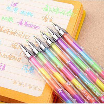 Wholesale- 1PC 6 Colors Cute Design Ink Highlighter Pen Marker Stationery Point Pen Colorful Stationery Writing Supply Girls Painting Pens