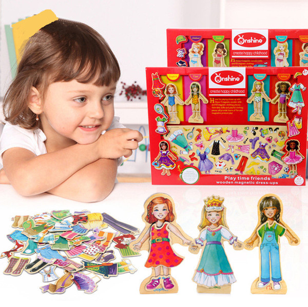 65pcs Wooden puzzle magnetic Changing clothes DIY Play house fashionable girl favorite dressing toy gift kid birthday gift set