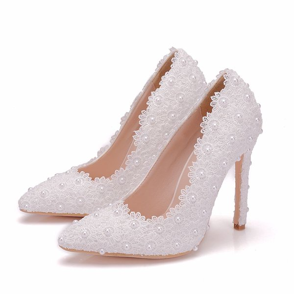 Crystal Queen Sweet Flower Women Pumps High Heels Lace Platform Pearls Wedding Shoes Bride Dress Shoes 11cm Height Eveing Pumps