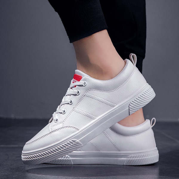 UNN Fashion Sneakers White Leather Shoes Men Casual Shoes Soft Male Flats Black Lace-up Low Top Mens Work
