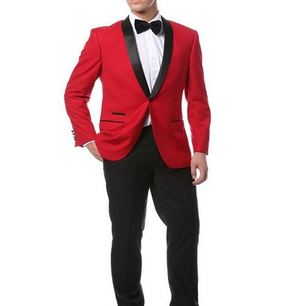 Red Jacket + Black Pants and Bow Tie Hankerchief Groomsmen Shawl Lapel Groom Tuxedos Side Vent Men Suits Wedding Best Man B925