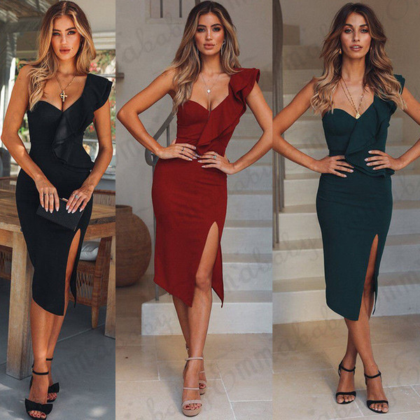 Sexy Women Casual One Shoulder Dress Ruffles Bandage Bodycon Evening Party Clubwear Dress Fashion Women Clothes