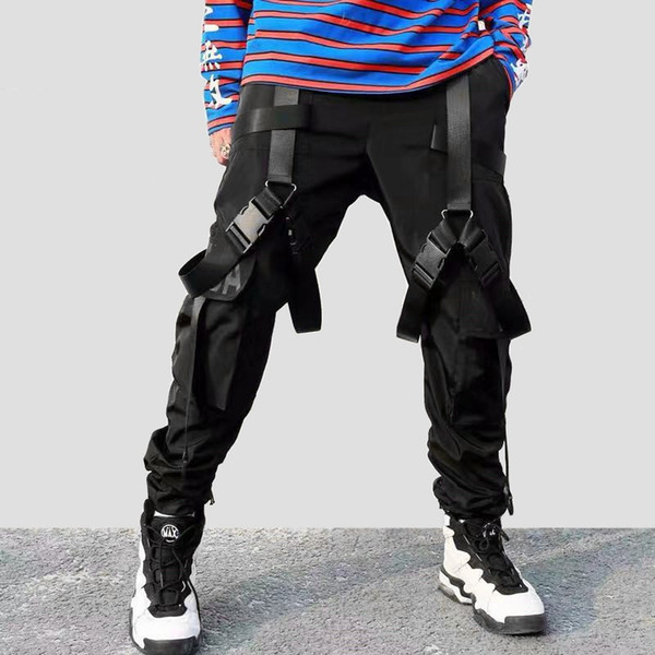 2019 Hip Hop Cargo Pants Pockets Men Streetwear Harajuku Harem Pants Buckle Ribbon Joggers Pants Black HipHop Sweatpants Autumn