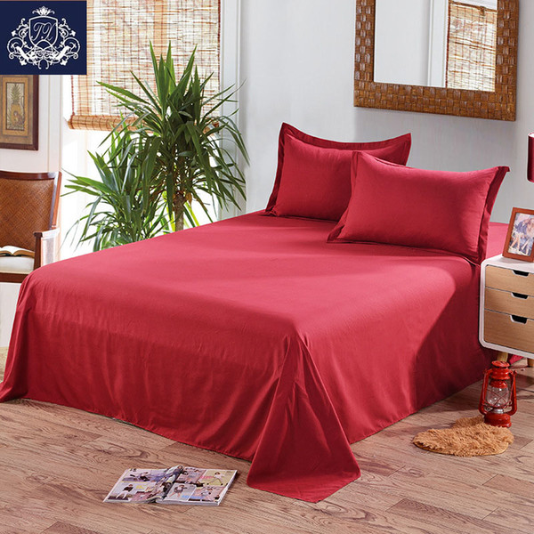 Red/White Color Flat Bed Sheet King Size Cotton Blend Printed Queen Size Flat Sheets Plain Bed Sheets With Pillowcase Covers
