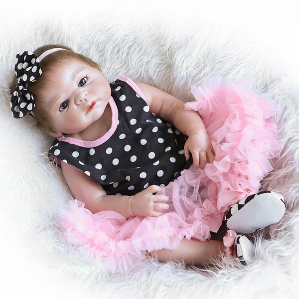 Bebe Reborn 20inch 46CM Full Silicone vinyl Reborn Baby girl Dolls Brand kids toys Gift Brinquedo bonecas