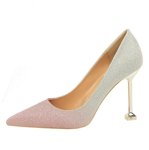fashion stiletto high heels shallow color sequins fashion dress shoes gradient color sexy women's single shoes banquet party wedding shoes