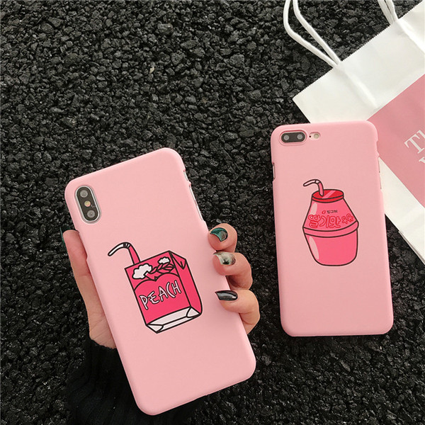 Korean Style Drink Milk Pattern Fashion Anti-fall Phone Case For iPhone X XS XS MAX,Cover For iPhone 6 7 8/plus